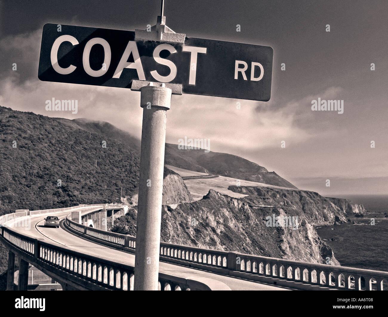 Inscrivez-vous sur la côte à côte de Big Sur pont Bixby Monterey Californie USA avec retro B+W traitement Photo Stock