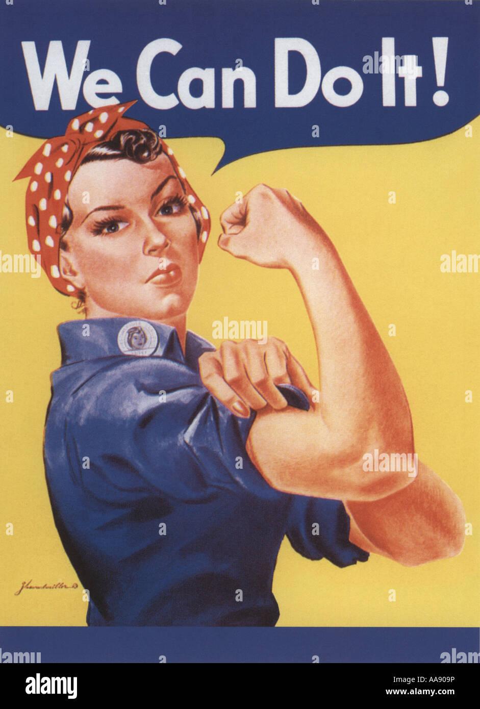 Poster la deuxième guerre mondiale pour les femmes pour participer à l'effort de guerre Photo Stock