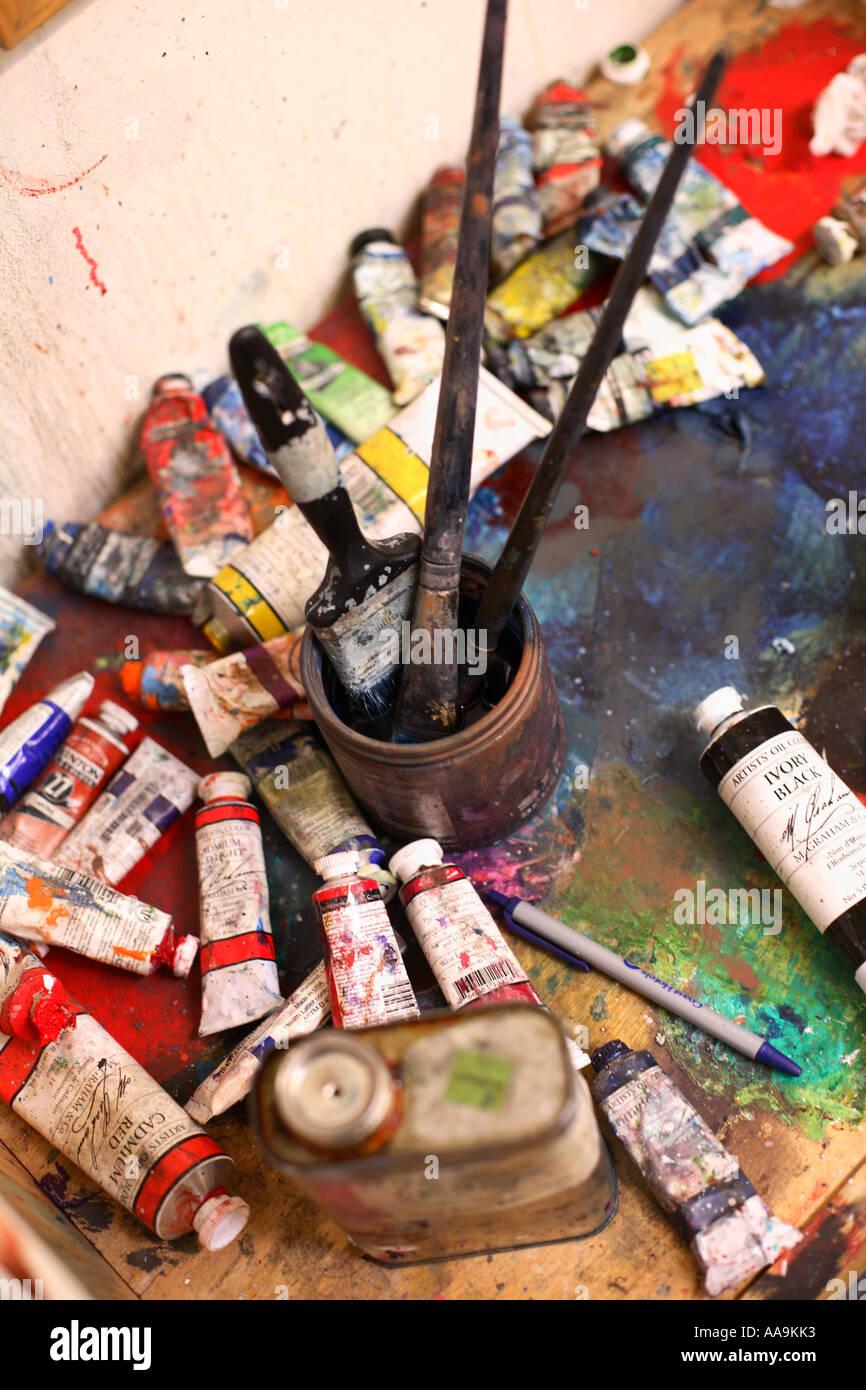 Fournitures de peinture Photo Stock