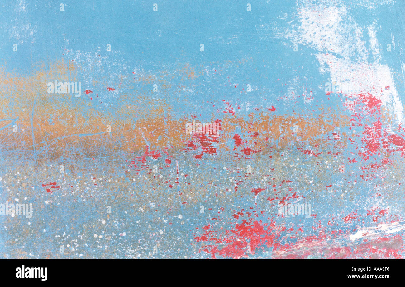 Champ de coquelicots peint abstract Photo Stock