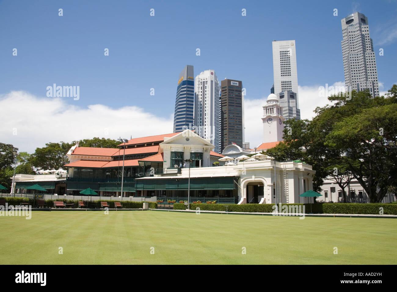 La ville de Singapour l'Asie peut à l'ensemble de la Bowling Green de la Célèbre Singapore Cricket Club pavilion Banque D'Images