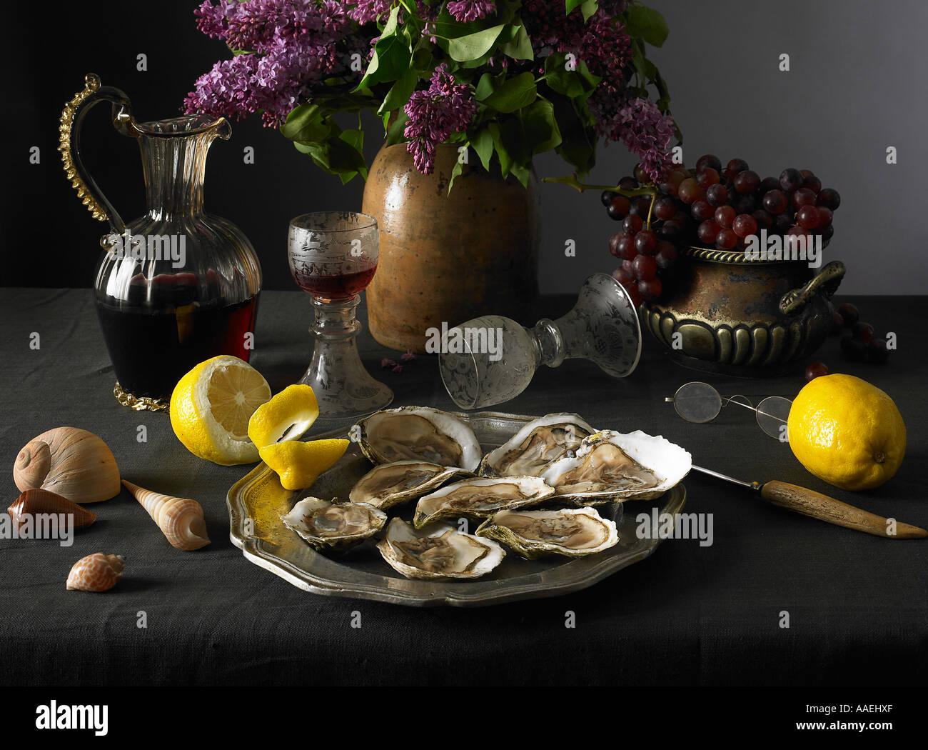 Les huîtres nature morte Photo Stock