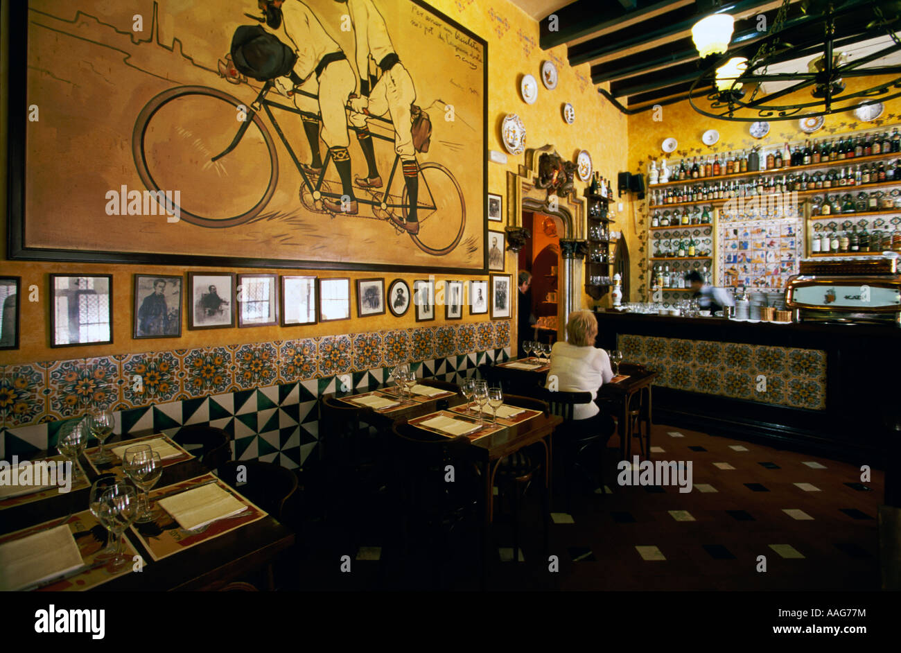 Restaurant Els Quatre Gats Vieille Ville Barri Gotic Barcelone Catalogne Espagne Banque D'Images