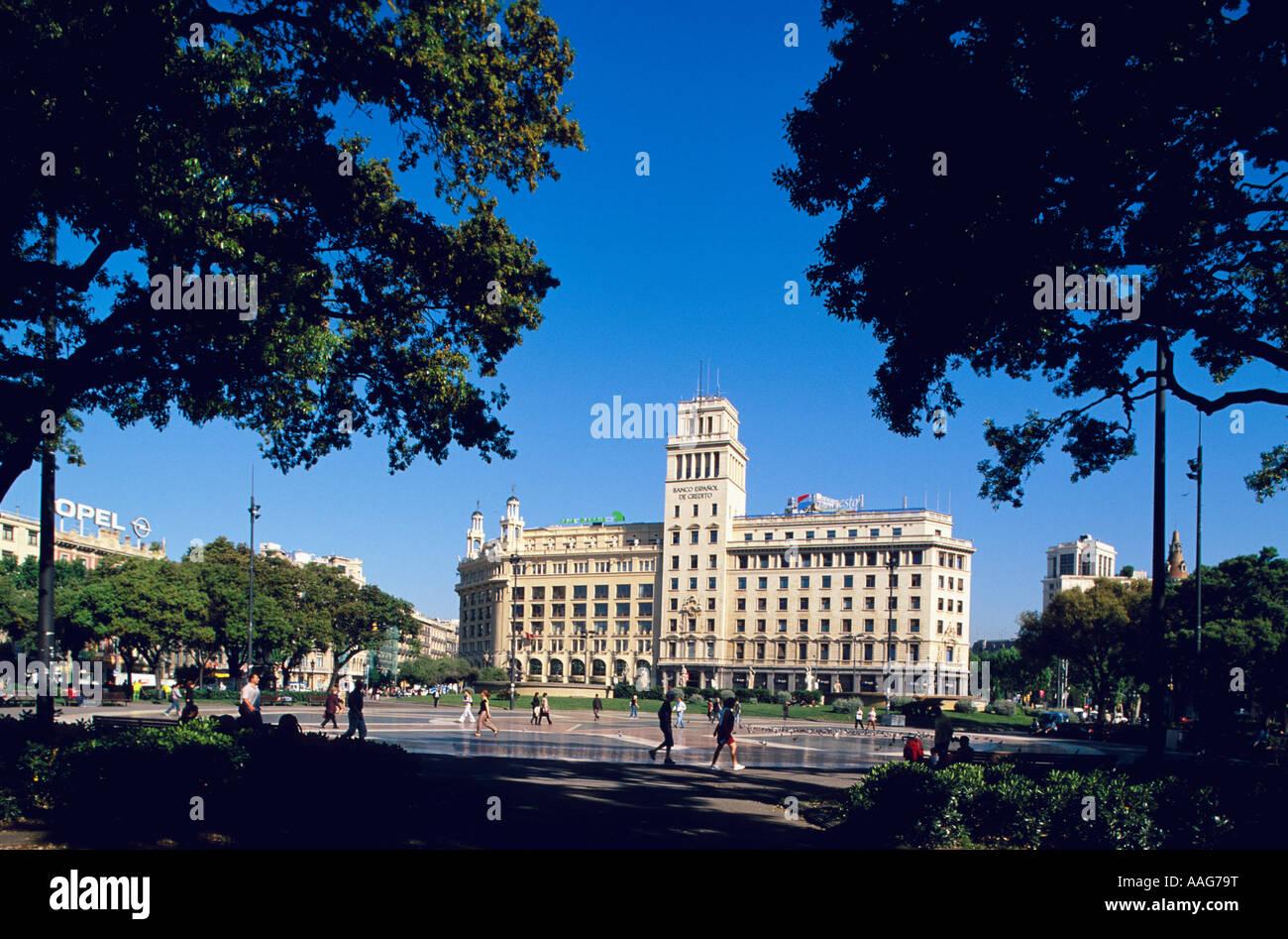 Elxample la Placa Catalunya Barcelone Catalogne Espagne Banque D'Images