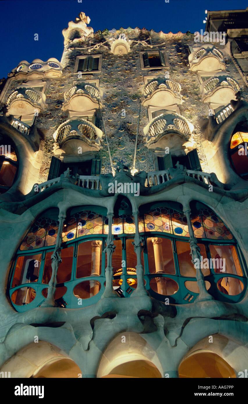 Une façade Casa Batllo Gaudi Barcelona La Catalogne Espagne Banque D'Images