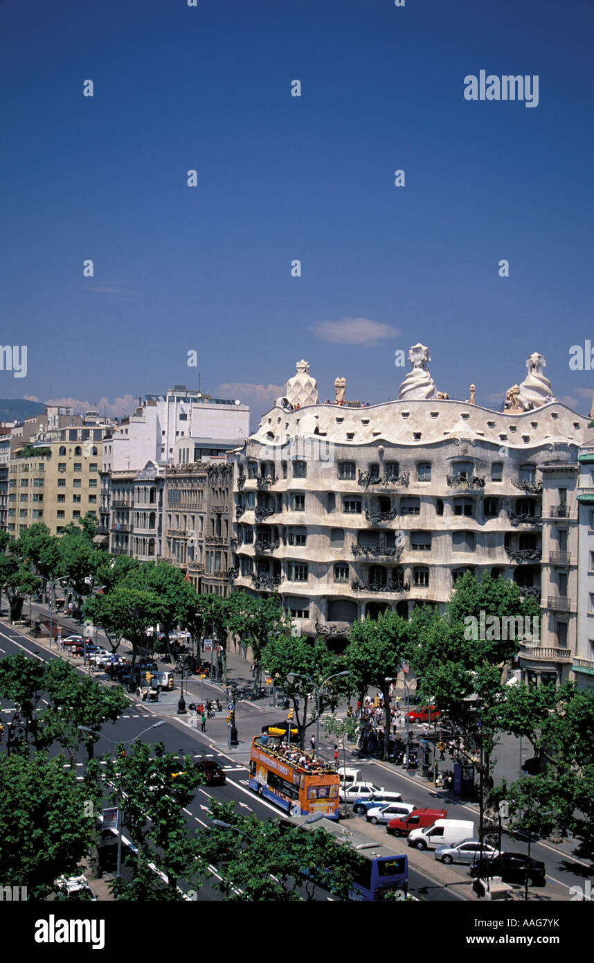 Casa Milà La Pedrera de Gaudi Barcelone Eixample dans une catalogne espagne Banque D'Images