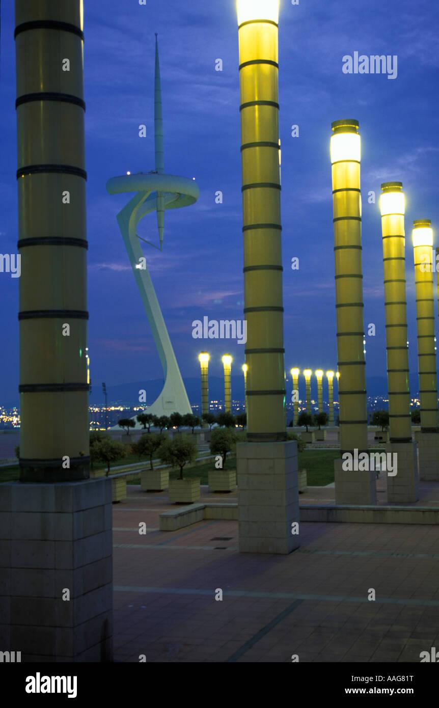 Torre Telefonica Montjuic Montjuic tour de communications Barcelona La Catalogne Espagne Banque D'Images