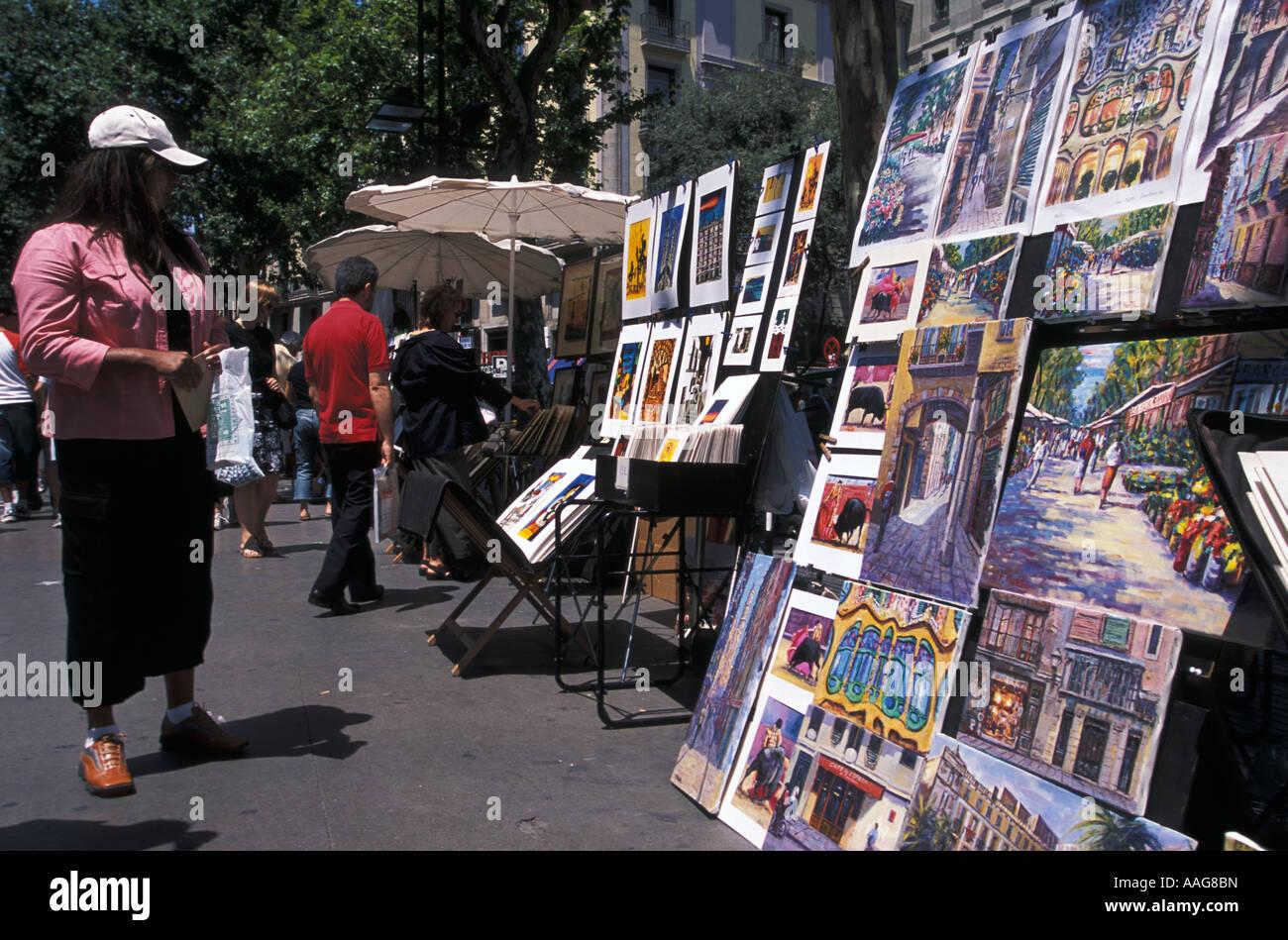 Galerie en plein air Las Ramblas Barcelona La Catalogne Espagne Banque D'Images