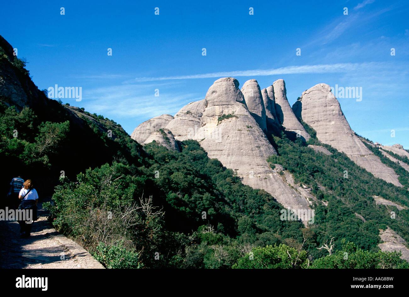 Les randonneurs en montagne Montserrat Barcelone Catalogne Espagne Banque D'Images
