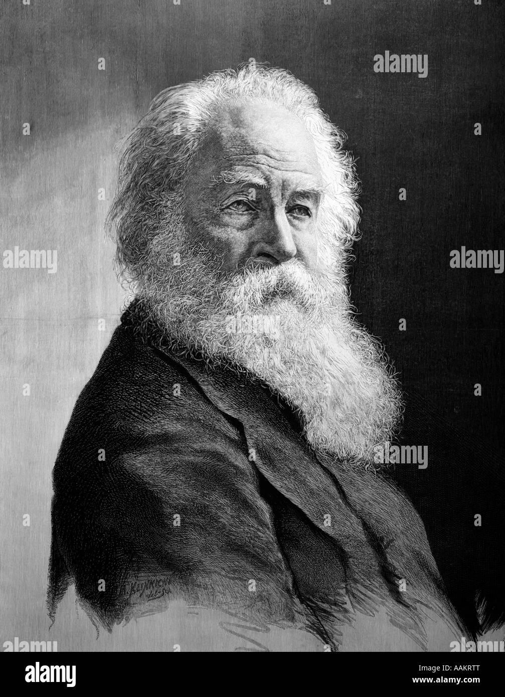 ILLUSTRATION PORTRAIT DE poète américain Walt Whitman Banque D'Images