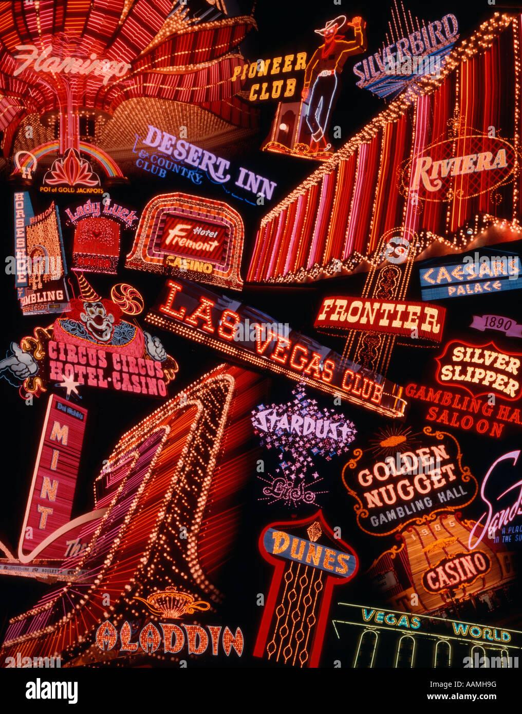 1970 MONTAGE D'enseignes au néon de LAS VEGAS Photo Stock