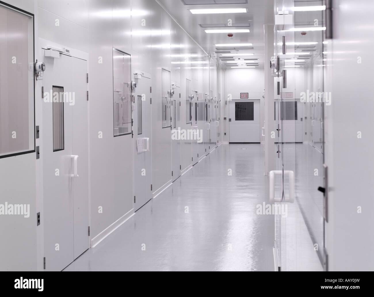 Biotechnologie pharmaceutique salle blanche stérile couloir, Philadelphie, USA Photo Stock