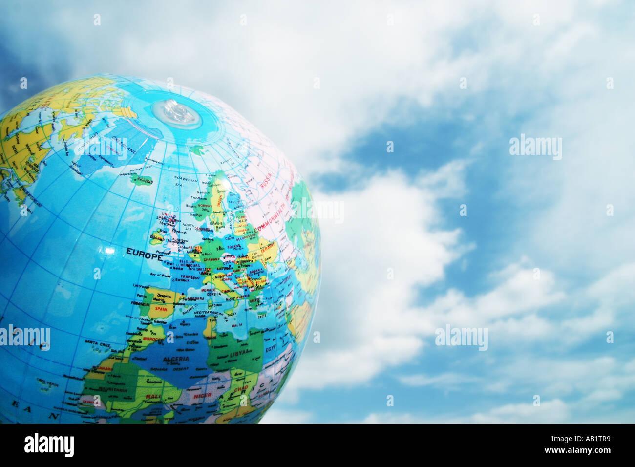 Carte de l'Europe sur un globe gonflable Photo Stock