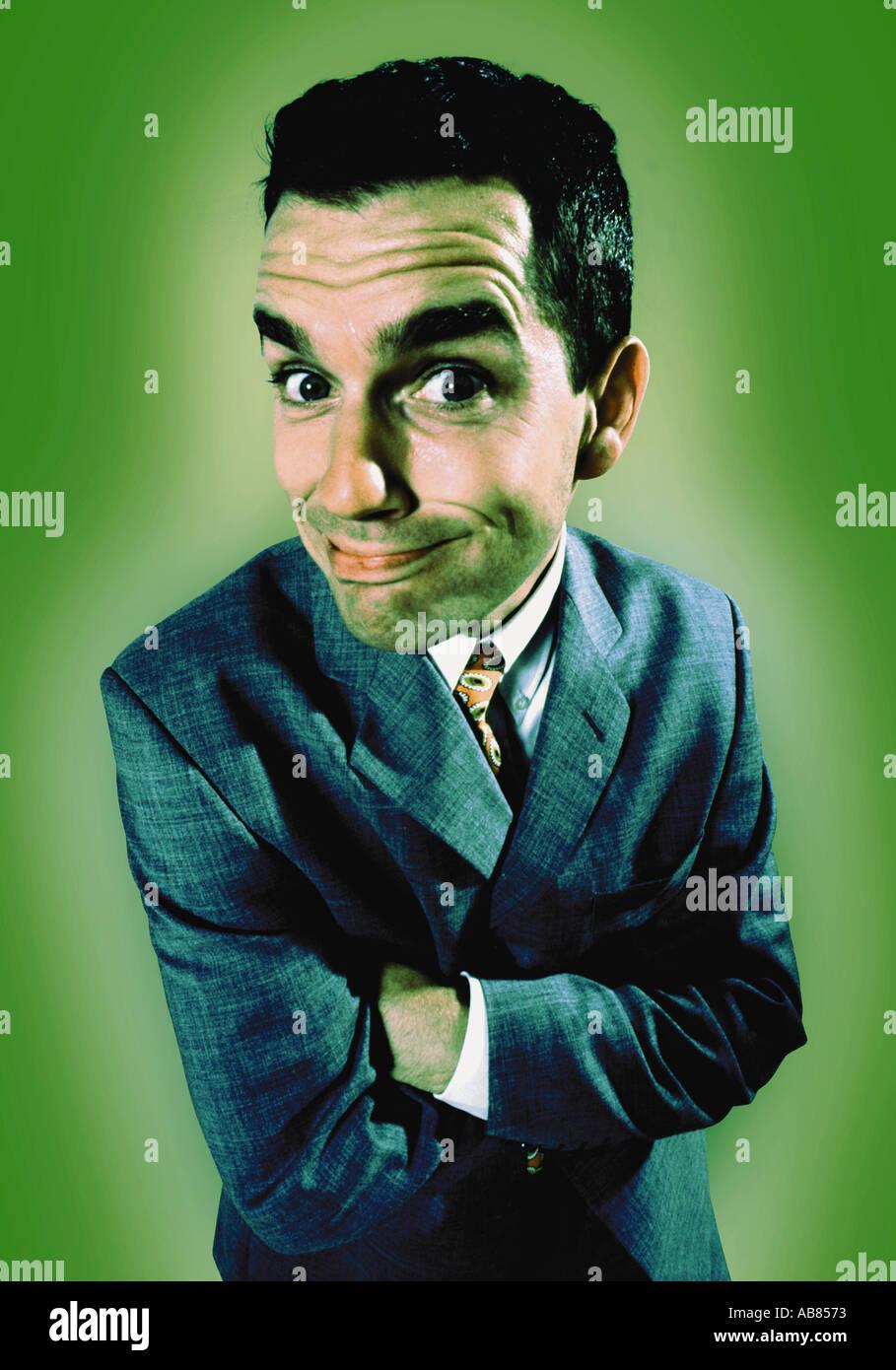 Content businessman Photo Stock