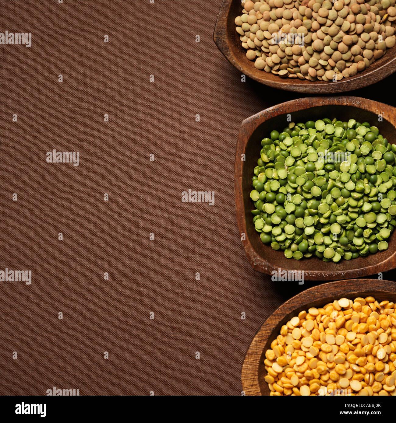 Les Lentilles de couleur différente Lens culinaris Photo Stock