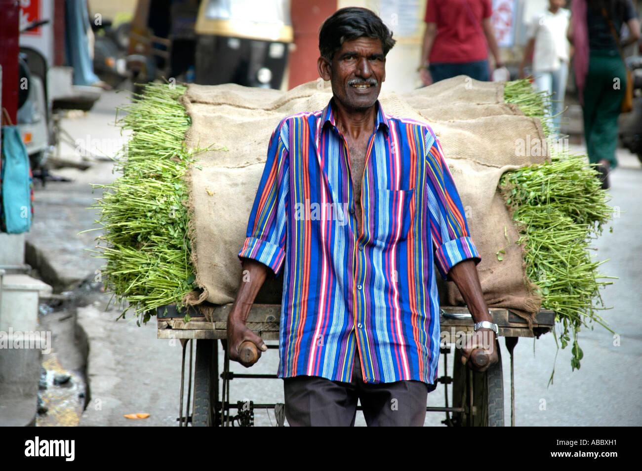 L'homme Indien avec une chemise colorée pousse une brouette remplie de gras Udaipur Rajasthan Inde Banque D'Images