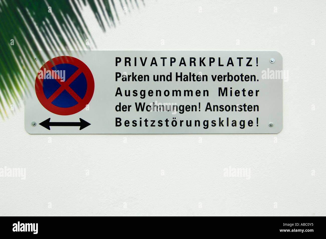 L'arrêt de l'Autriche, de restriction interdit place parking Photo Stock