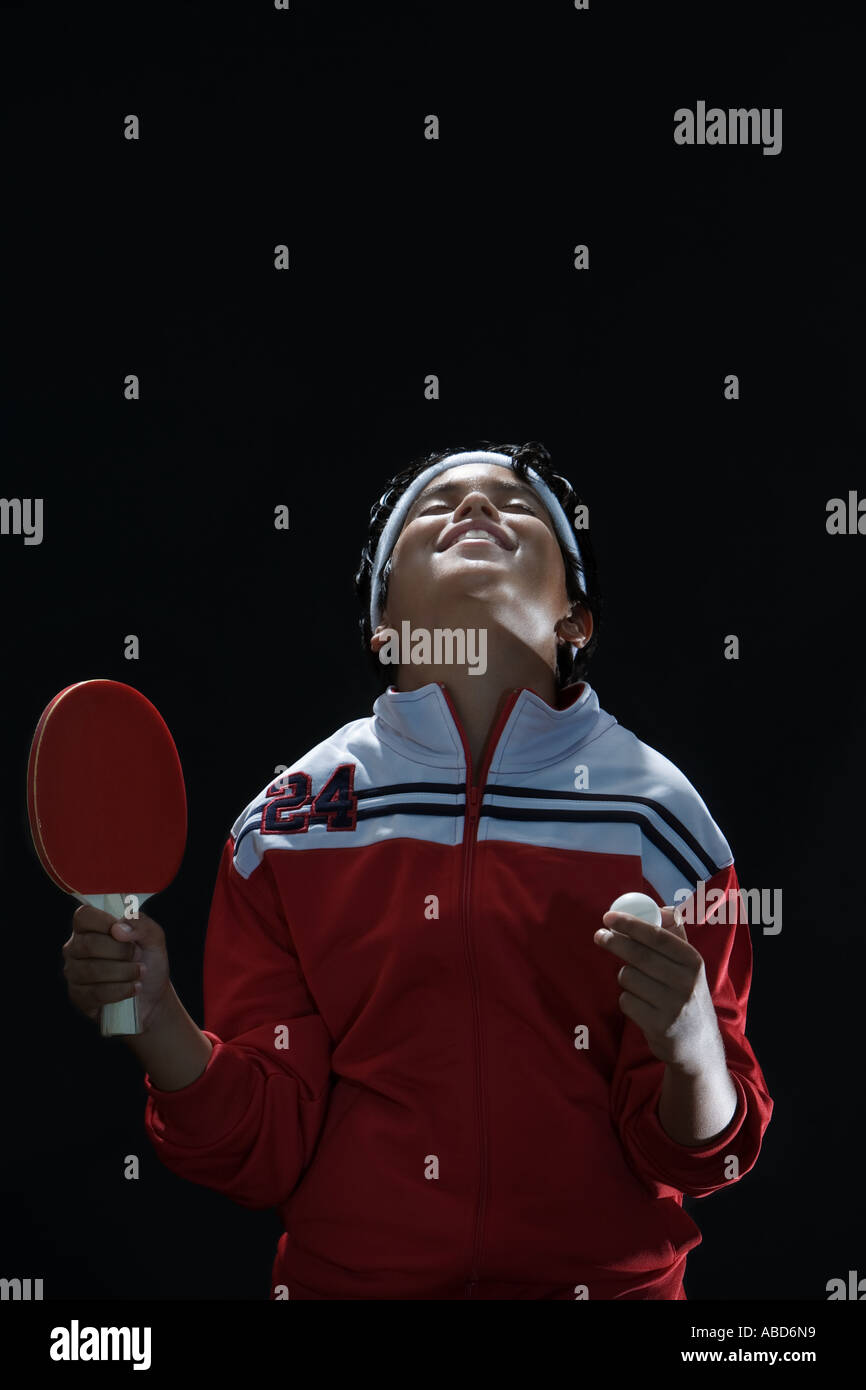 Champion junior de tennis de table Photo Stock