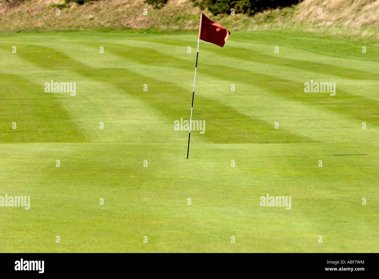 Green, Fairway et borne à Royal Liverpool Golf Course Banque D'Images