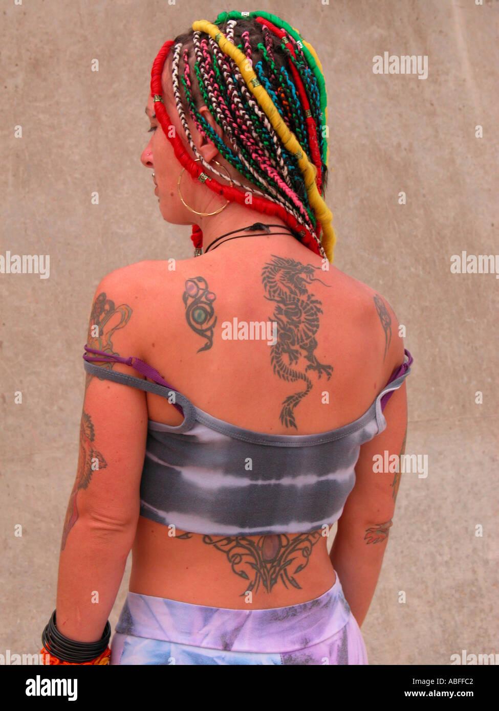 Body Art et les cheveux en arrière Photo Stock