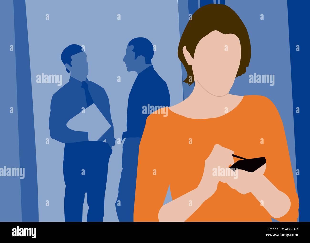 Illustration de l'employé-e qui travaille Photo Stock