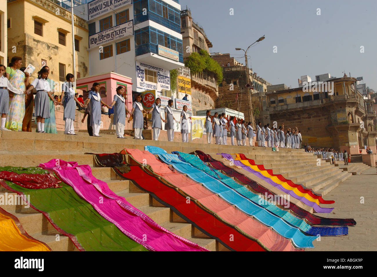 La Journée mondiale de l'eau, Varanasi, en Inde, les enfants de l'école la sensibilisation sur Photo Stock