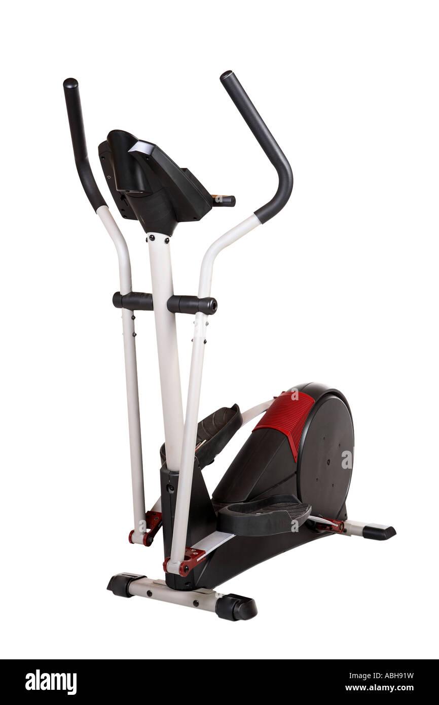 Appareils d'exercice elliptique découper sur fond blanc Photo Stock