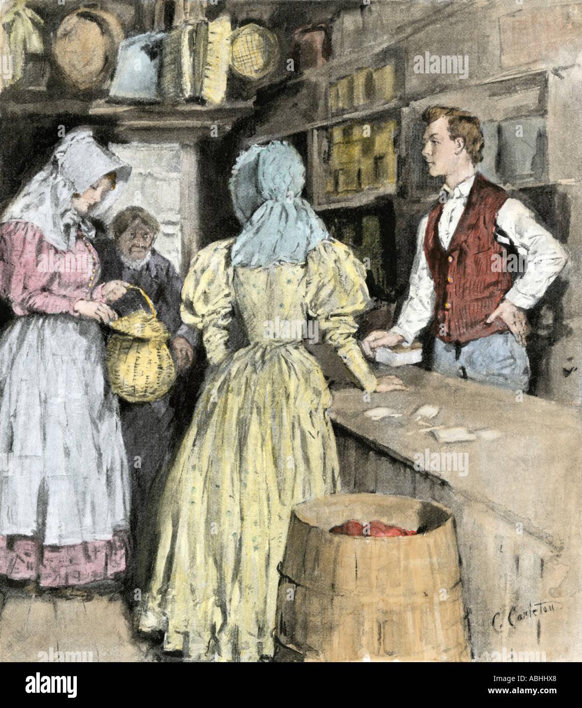 Boy un panier d'œufs de vendre à un magasin des années 1800. La main, d'une illustration de demi-teinte Banque D'Images