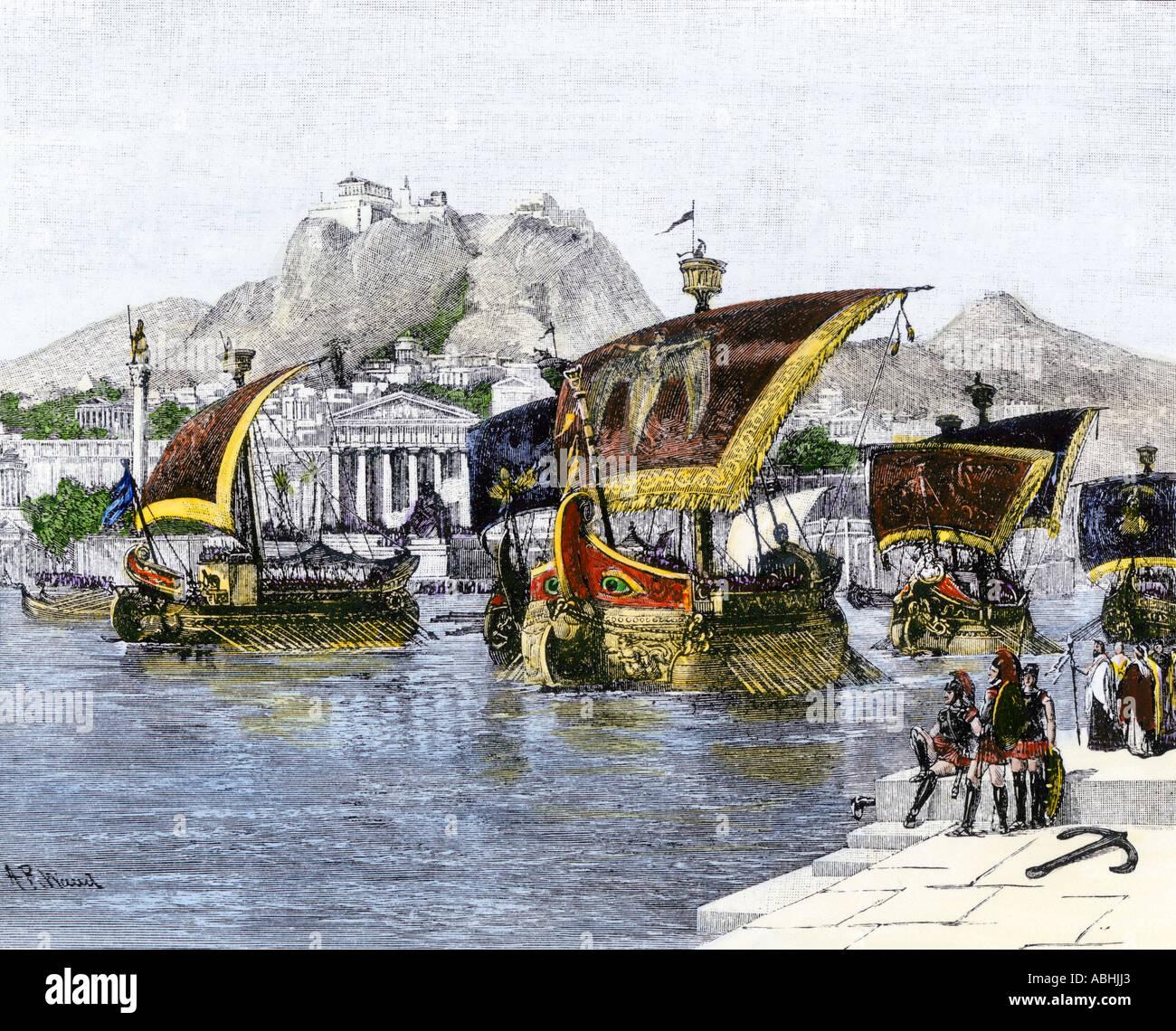 Jason quitter Corinthe sur son navire Argo dans la mythologie grecque, quête de la Toison d'or. À la main, gravure sur bois Photo Stock