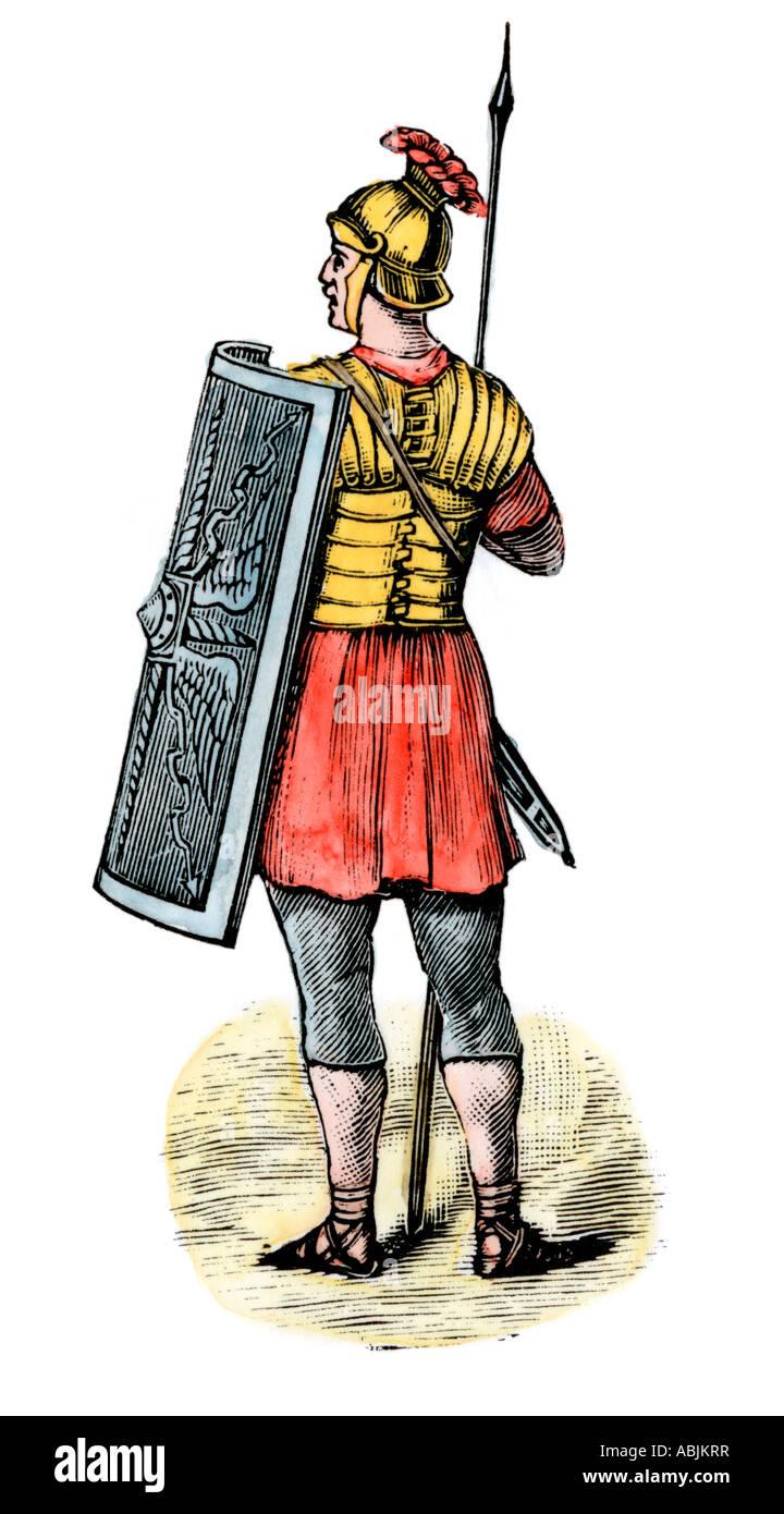 Soldat dans l'armée romaine. À la main, gravure sur bois Photo Stock