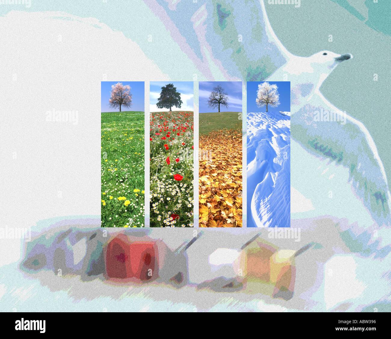 L'art numérique: Les Quatre Saisons Photo Stock