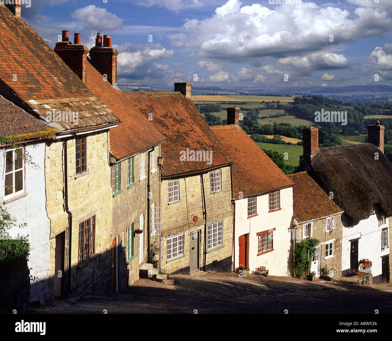 Go - DORSET : Gold Hill au Shaftesbury Photo Stock