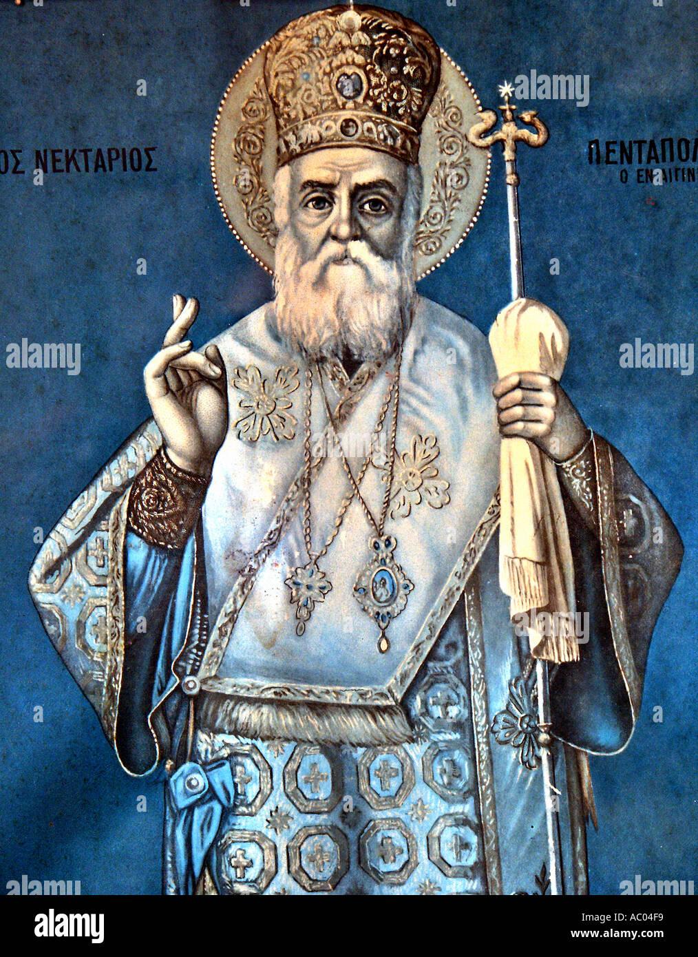 Agios Nektarios Pendapolotis Saint Hagios illustration ancienne église des sentiers à Tissiniva Crète Grèce île Photo Stock