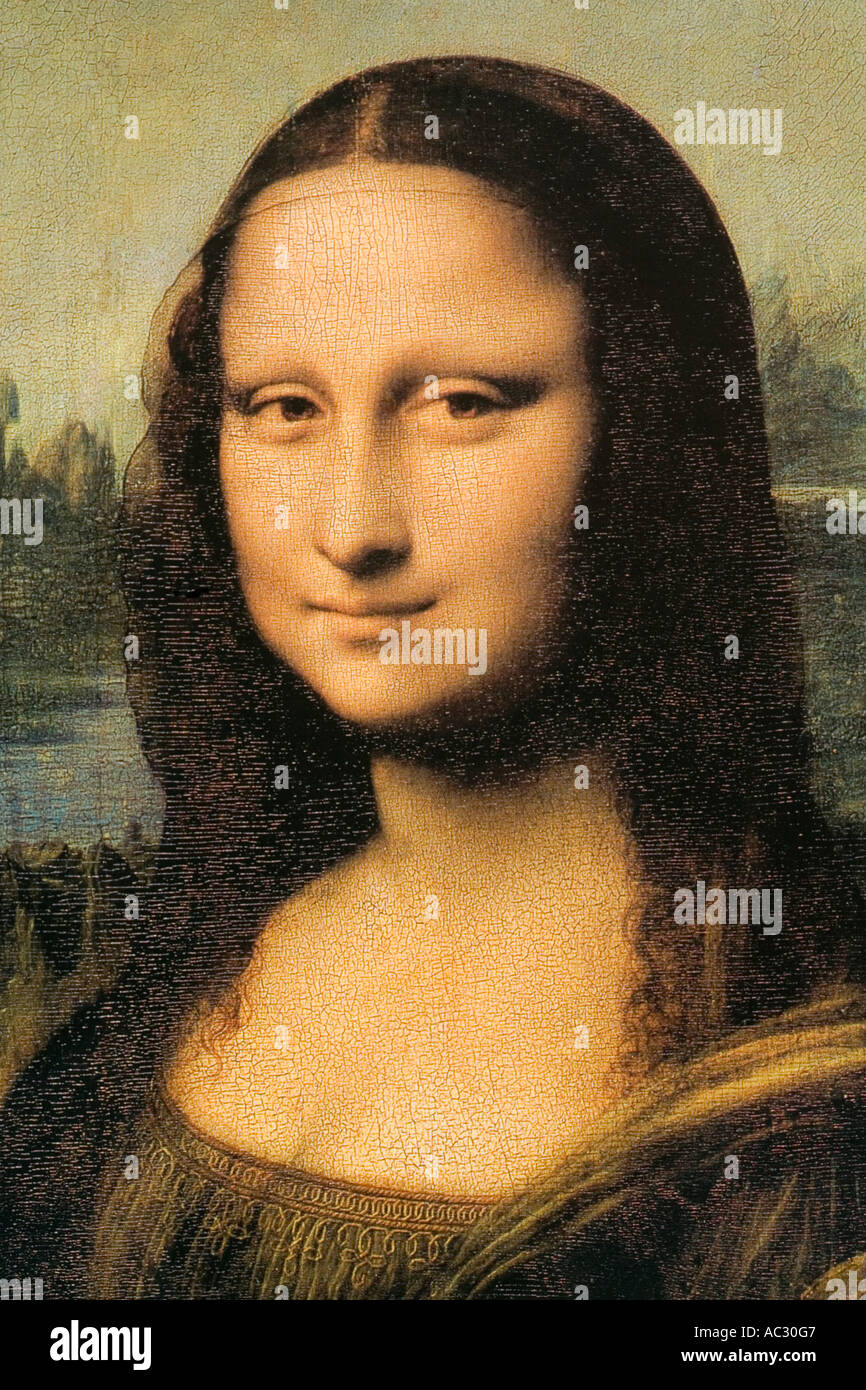 Close up d'une peinture de la Joconde de Léonard de Vinci Photo Stock