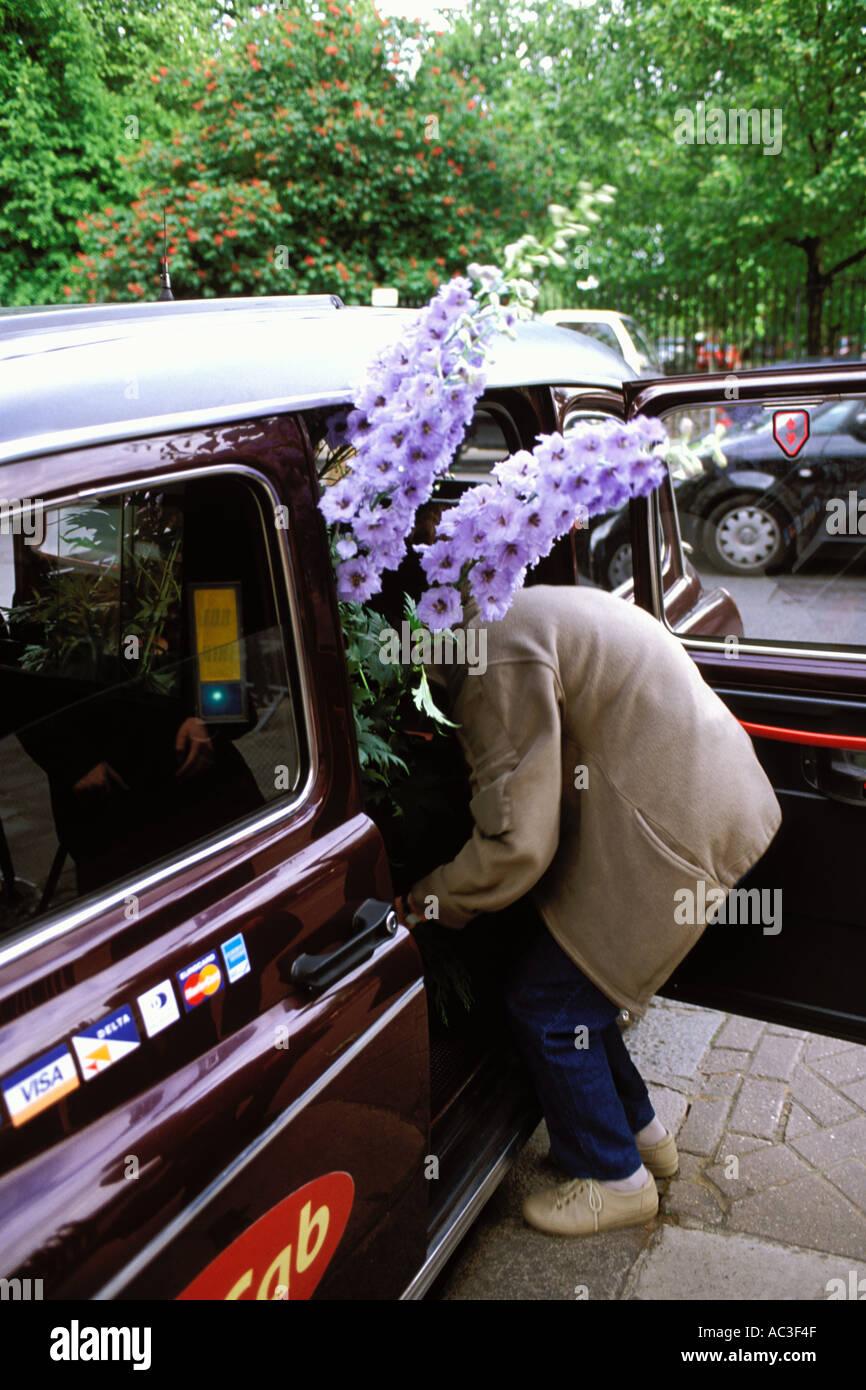 En Angleterre, Chelsea Flower Show, les femmes qui quittent le spectacle dans un taxi avec un delphinium Photo Stock