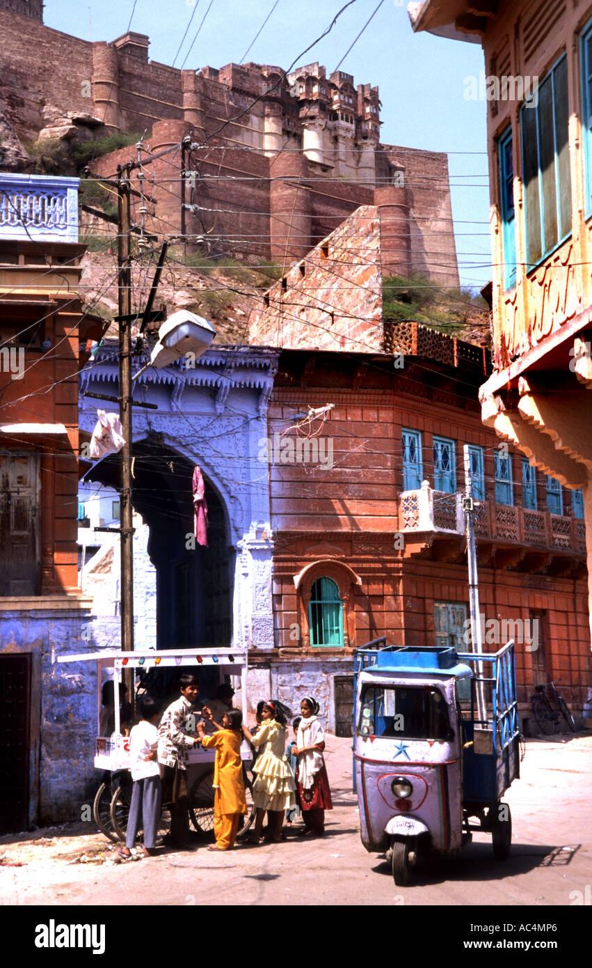 Inde Rajasthan Jodhpur la ville bleue marché Bazar Banque D'Images
