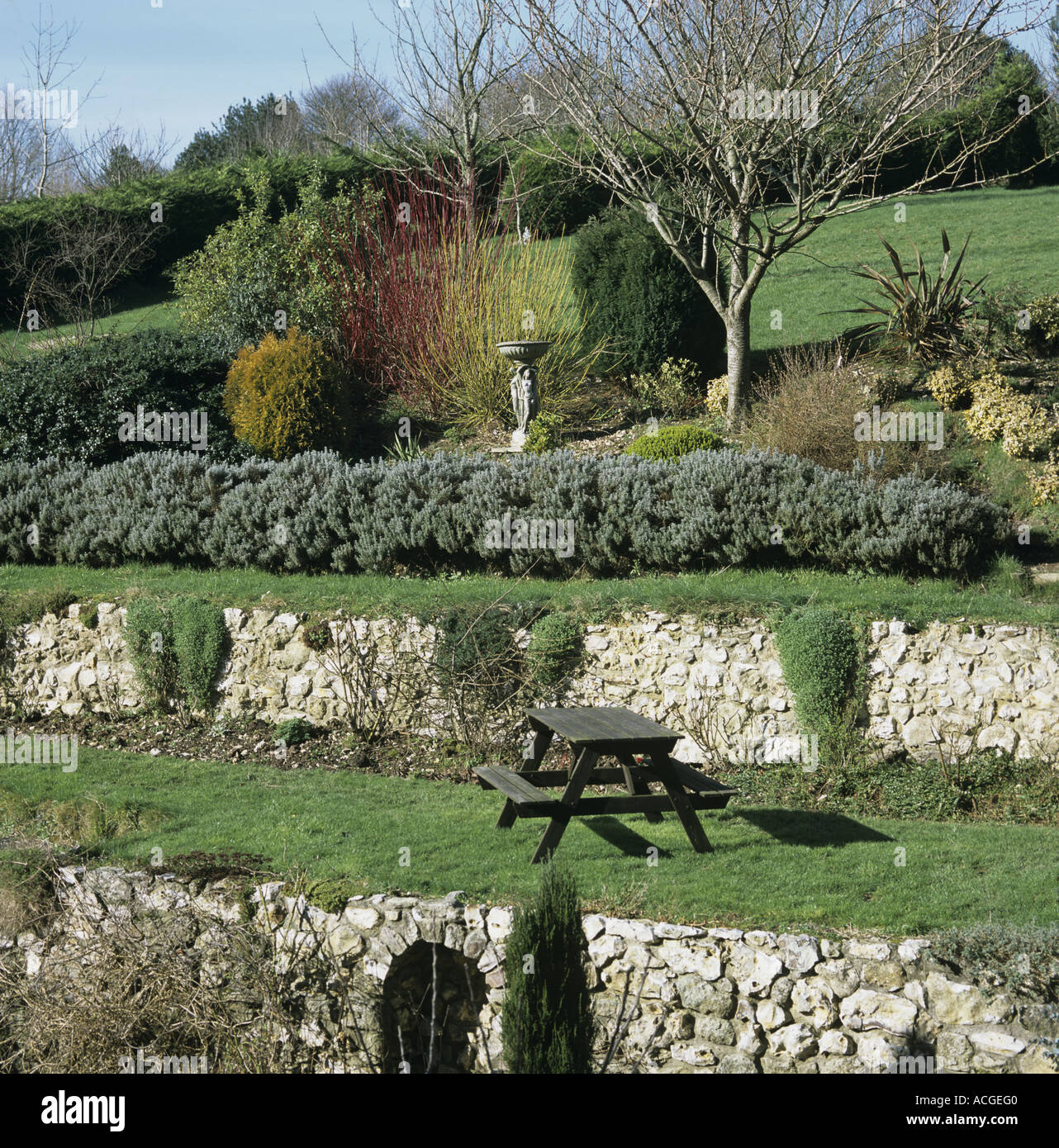 Jardin En Terrasses En Pente Avec Des Murs De Soutenement En Pierre