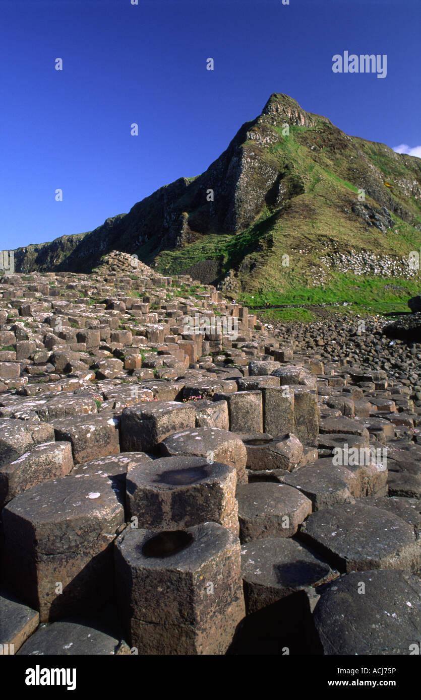 Les colonnes hexagonale de la Giant's Causeway, le comté d'Antrim, en Irlande du Nord. Banque D'Images