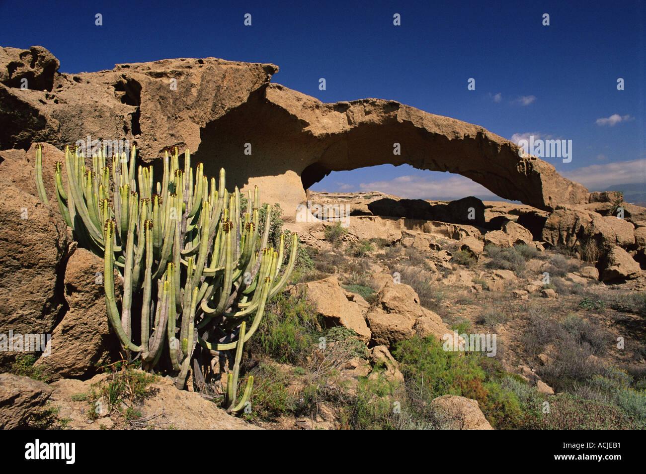 Passage rocheux à Tabaibarril Teneriffe, Espagne Photo Stock