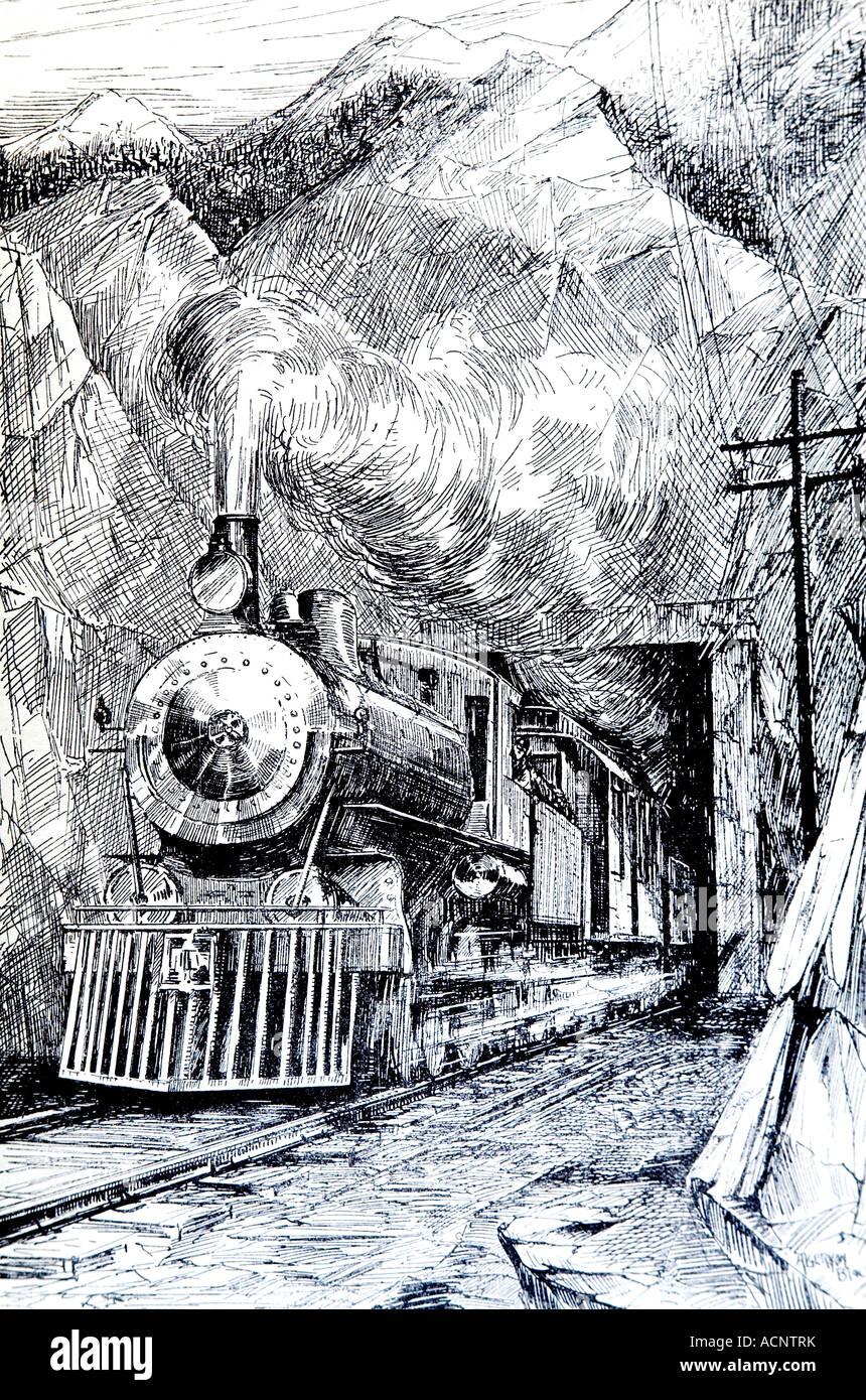 Années 1920, illustration de la ligne de train à vapeur sortant d'un tunnel Photo Stock