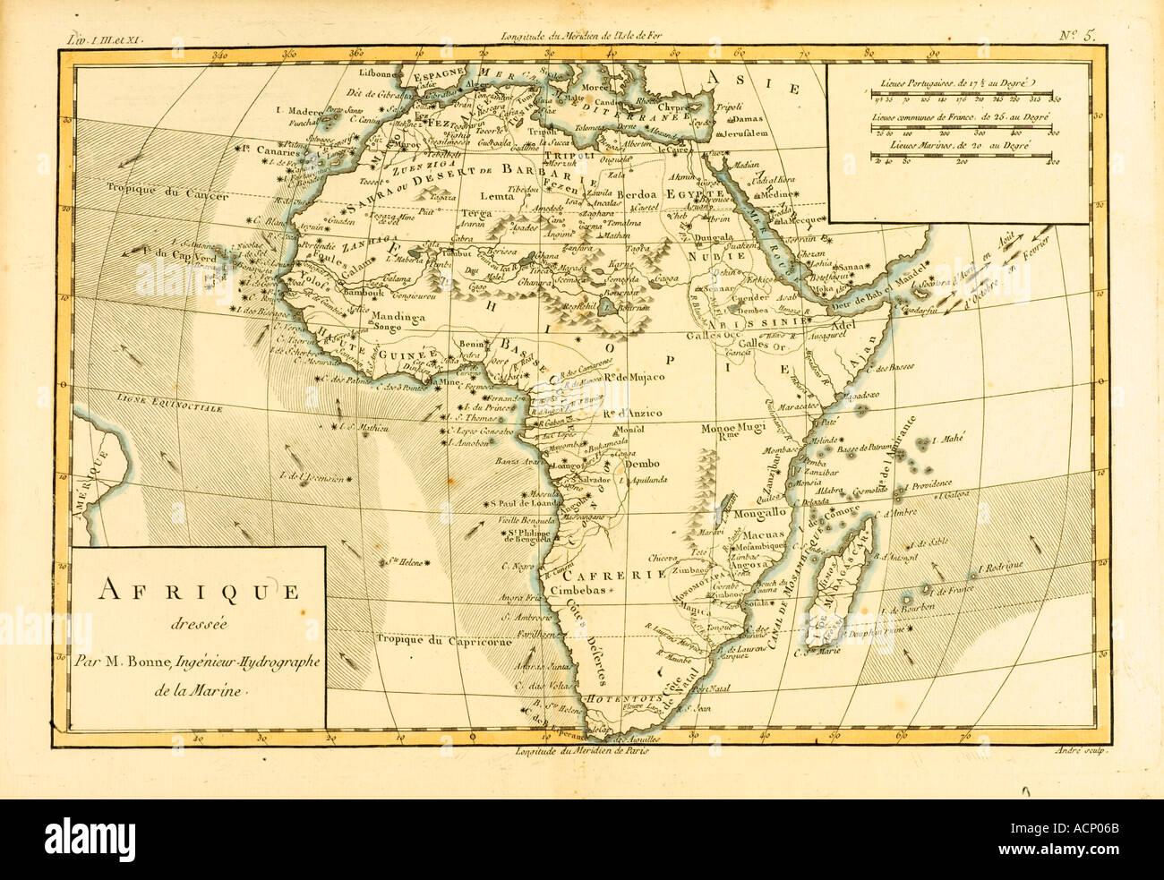 Carte de l'Afrique vers 1760 Photo Stock