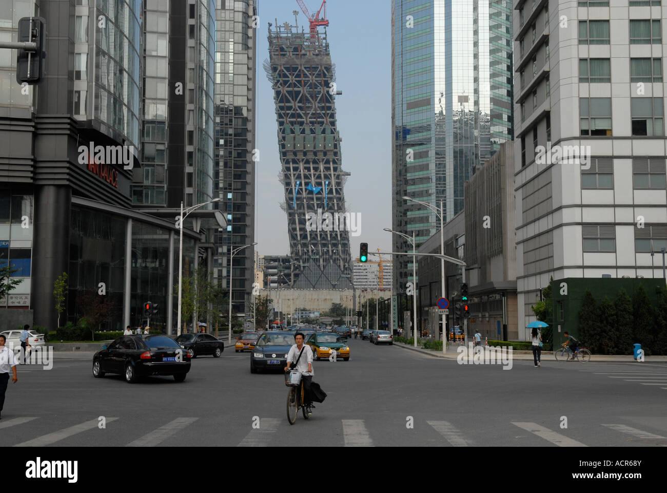 Le bâtiment de CCTV en construction dans la zone centre-ville de Guo Mao à Beijing, Chine. Juillet 2007. Photo Stock