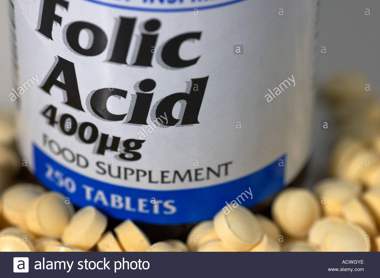 Supplément d'acide folique Photo Stock
