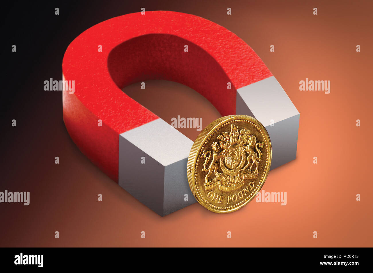 Aimant et Pound coins Photo Stock
