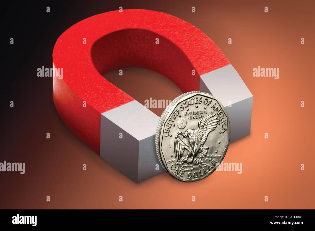 Pièce d'un dollar US et de l'aimant Photo Stock