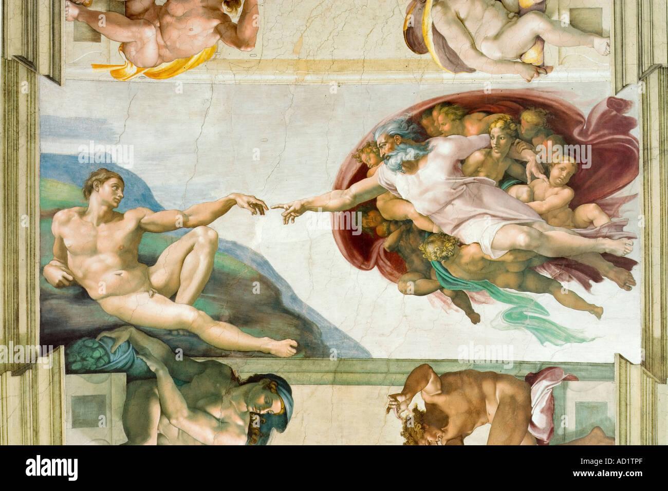 Peinture de plafond de Michel-Ange, Chapelle Sixtine, Vatican, Rome, Italie Photo Stock