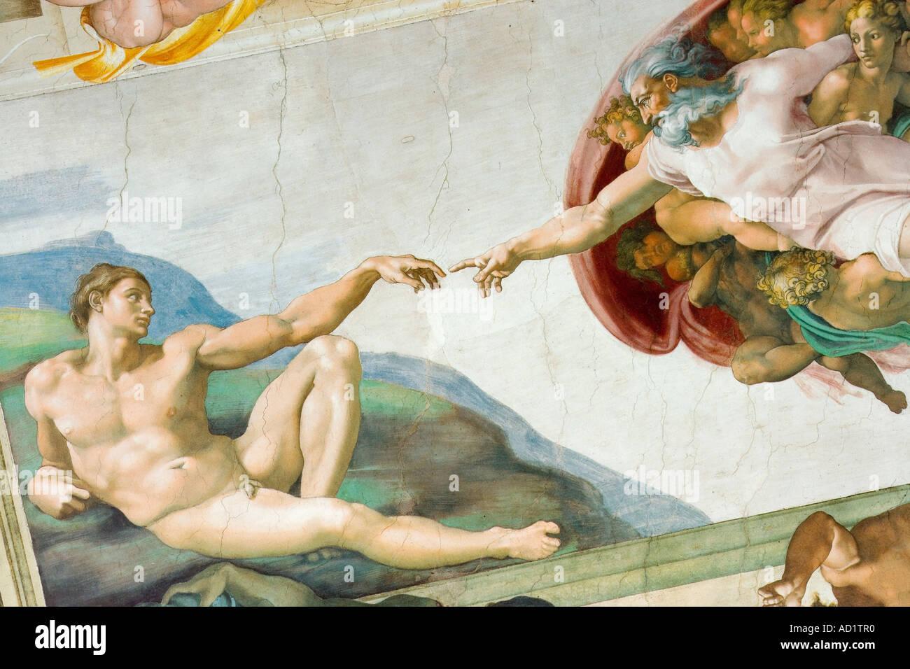 Peinture De Plafond De Michel Ange Chapelle Sixtine Vatican Rome Photo Stock Alamy