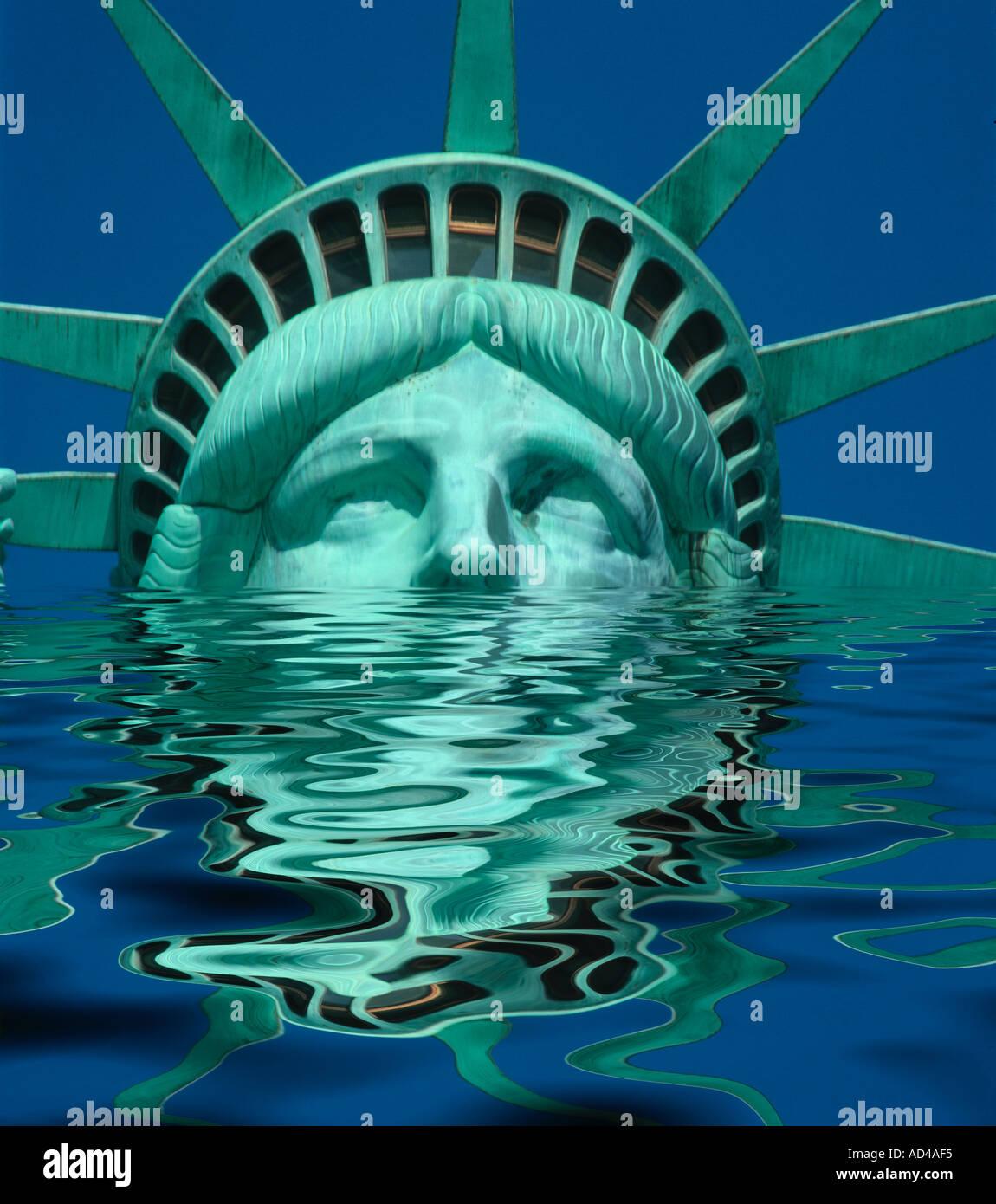 Concept abstrait de droit de la Statue de la liberté USA être inondée Photo Stock