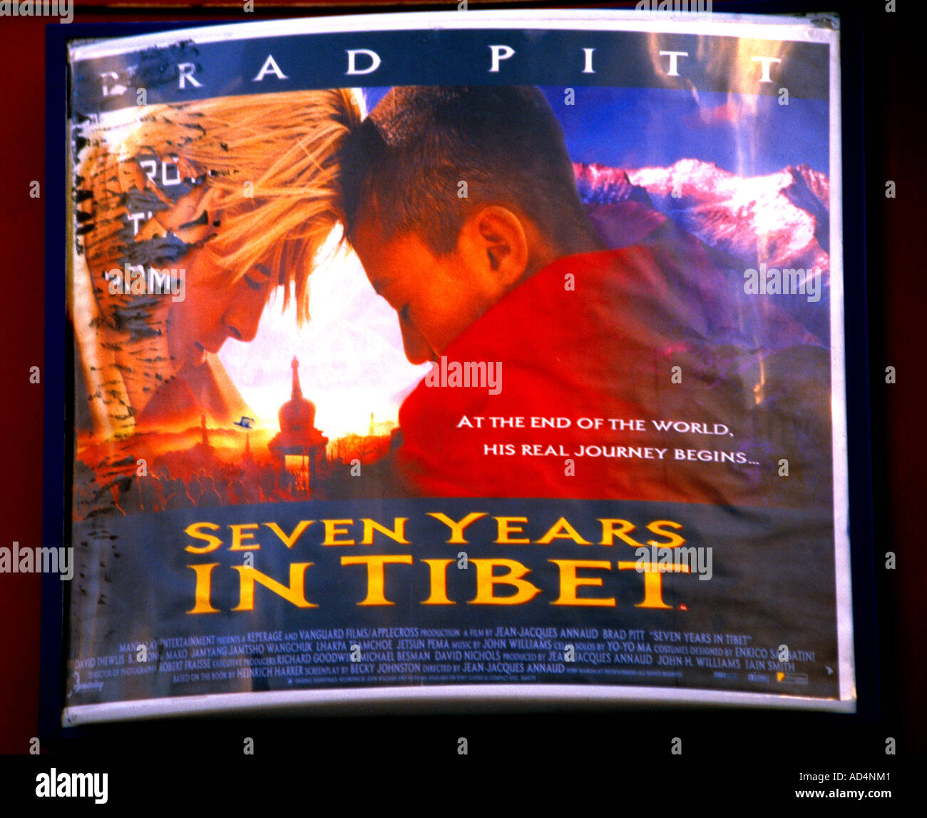 Affiche de film Sept ans au Tibet Photo Stock