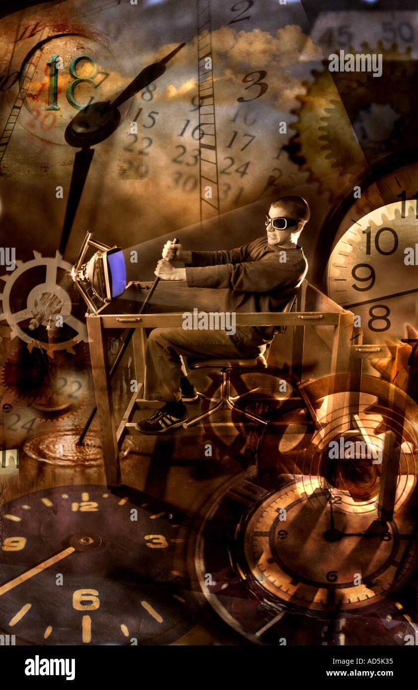 Homme monté sur un concept de voyage temps time machine Photo Stock